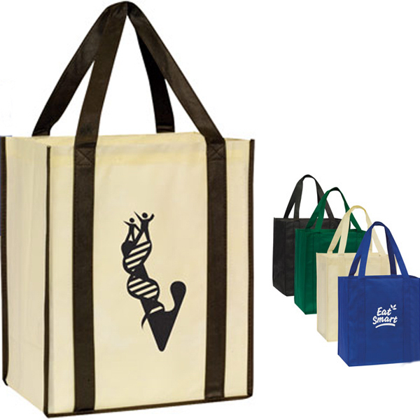 Imprinted Nonwoven Shopping Tote with Bottom Board