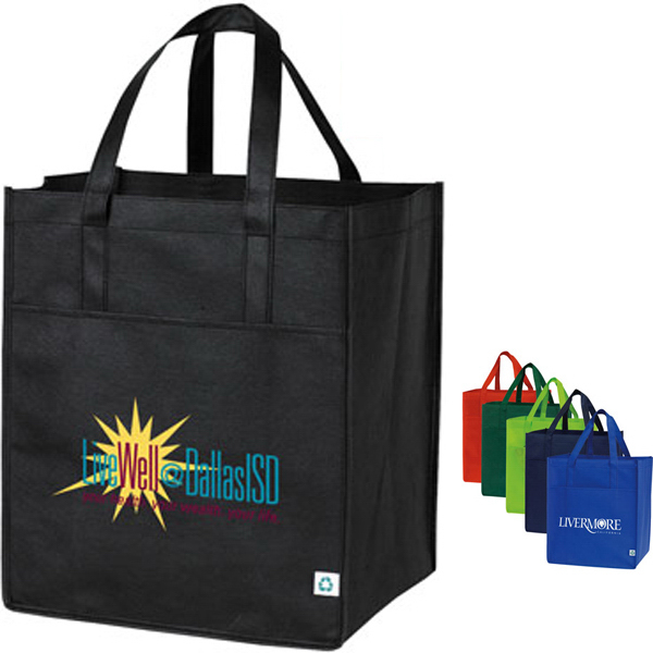 Imprinted Nonwoven Shopping Tote with Large Front Pocket