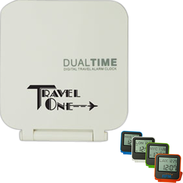 Promotional Foldable Dual Time Travel Alarm Clock