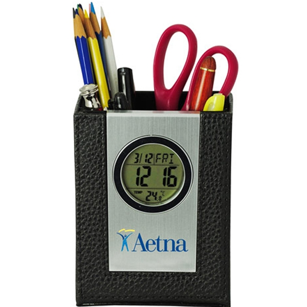 Printed Multi-Function Leather Pen Holder with LCD Clock/Thermometer