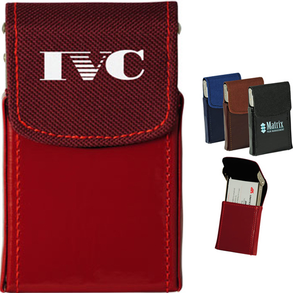 Promotional Business Card Case with Canvas and Shinny PVC Exterior