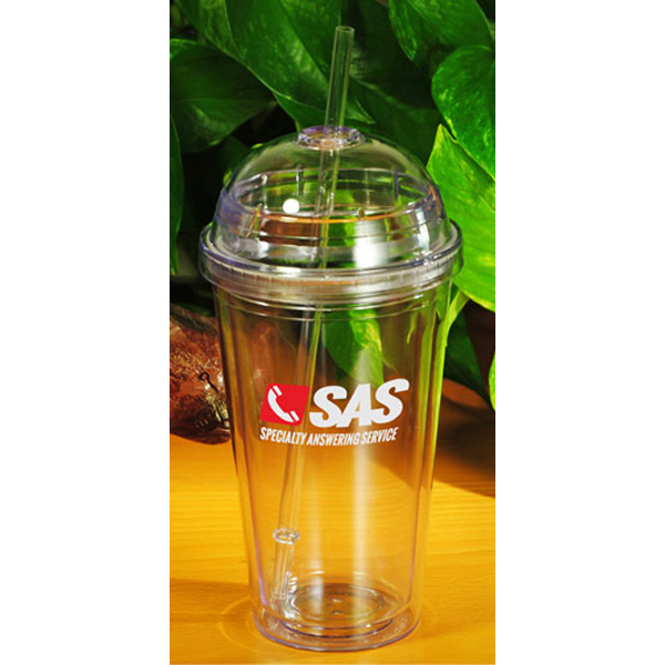 Promotional 16 oz. Acrylic Dome Lid Double Wall Tumbler with Straw