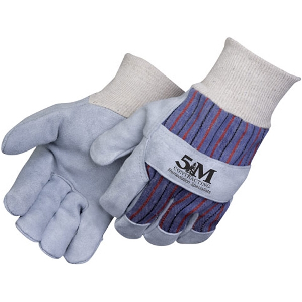 Personalized Gunn Pattern Split Leather Work Gloves