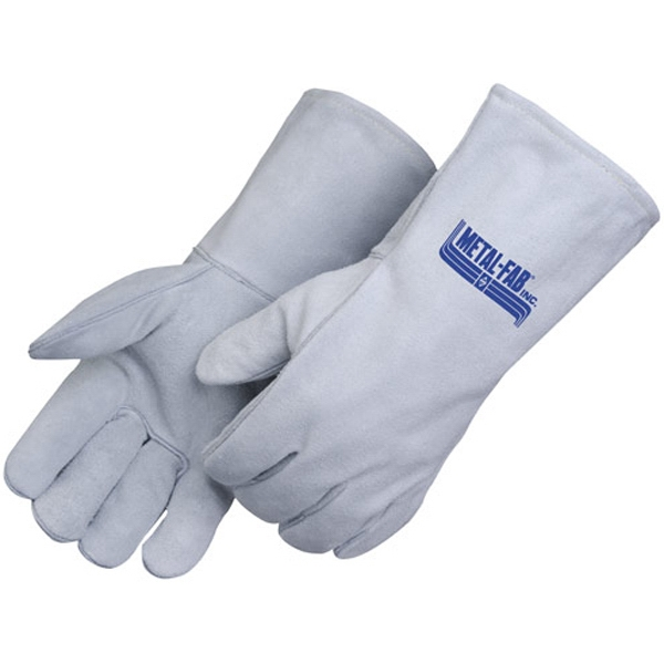 Personalized Gray Leather Welder Gloves with Cotton Thread