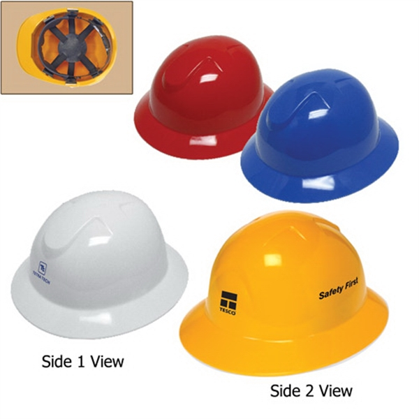 Custom Full Brim Hard Hat with 6-Point Pinlock Suspension