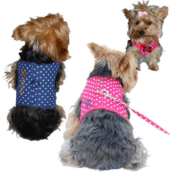 Customized Dog Solid Fabric Harness with Leash