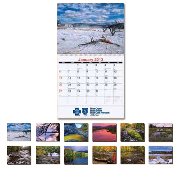Customized Monthly wall calendar - Scenic Water