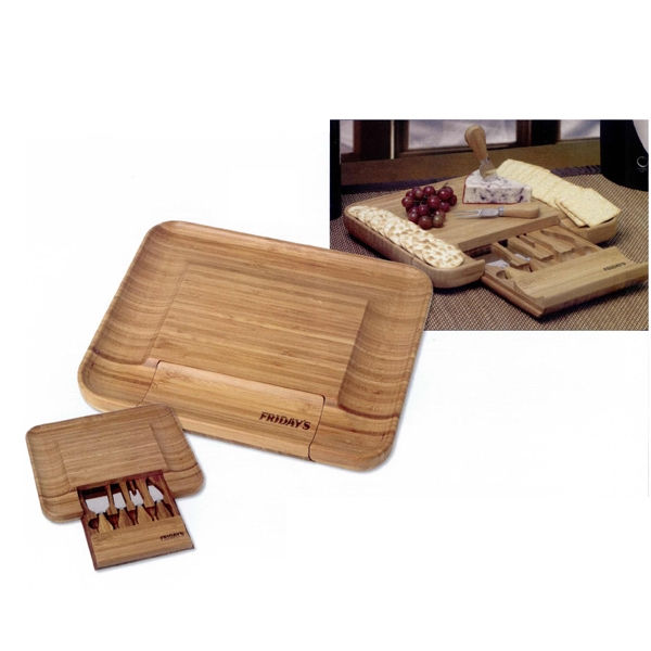 Printed Bamboo cheese serving set