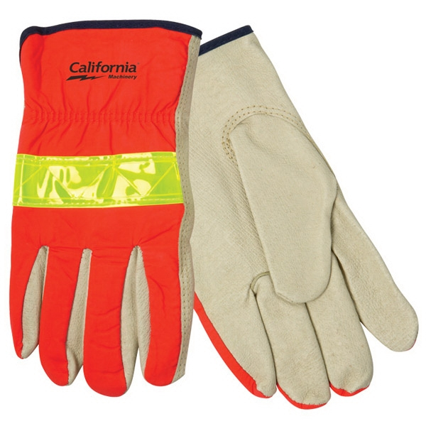 Personalized Hi-Vis Leather Driver's Glove
