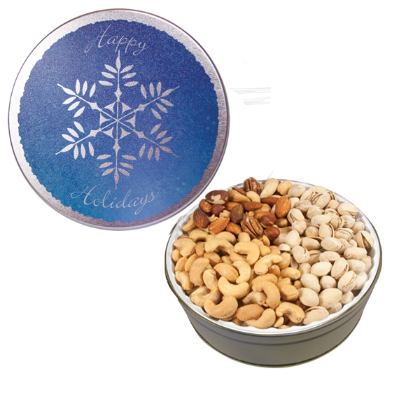 Custom The Grand Tin w/Mixed Nuts, Pistachios & Cashews-Snowflake