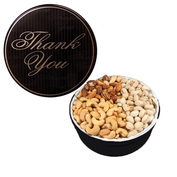 Imprinted The Grand Tin w/Mixed Nuts, Pistachios & Cashews-Thank You