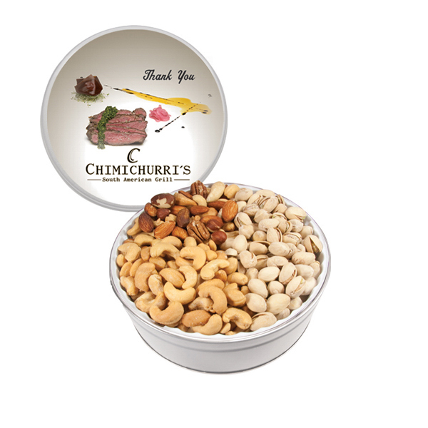 Imprinted The Grand Tin with Mixed Nuts, Pistachios & Cashews - White