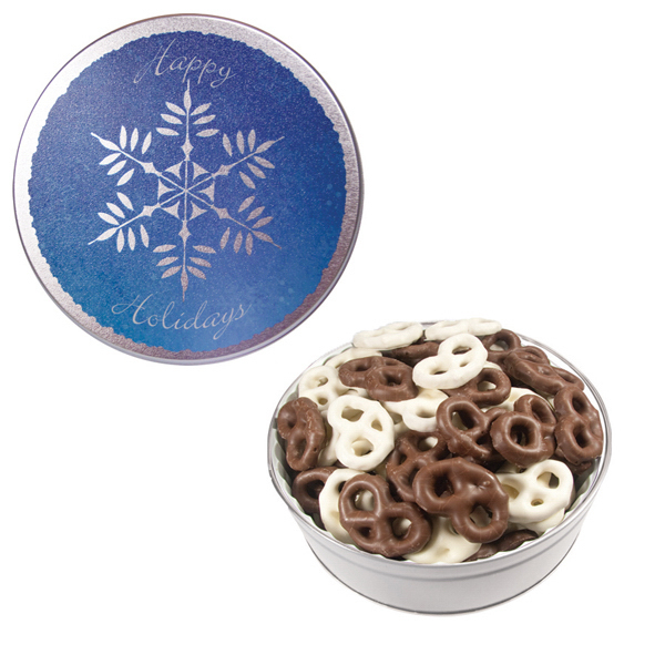 Personalized The Royal Tin with Chocolate Covered Mini Pretzels-Snowflake