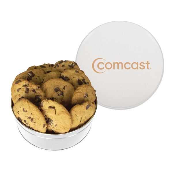 Promotional The King Size Cookie Tin - White - Chocolate Chip Cookies