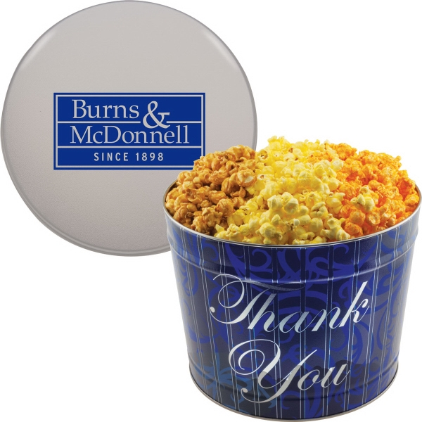 Imprinted Designer Two Gallon Popcorn Tin - Three Flavors, Thank You
