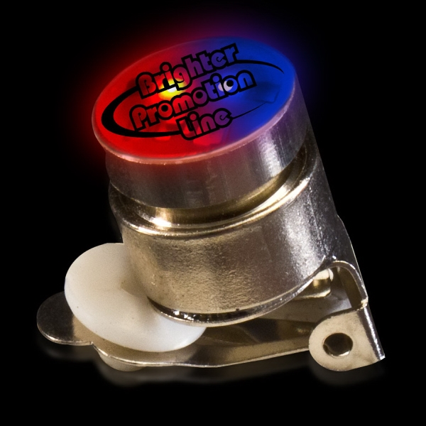 Printed Red & Blue Stock Flashing Light Up LED Glow Button