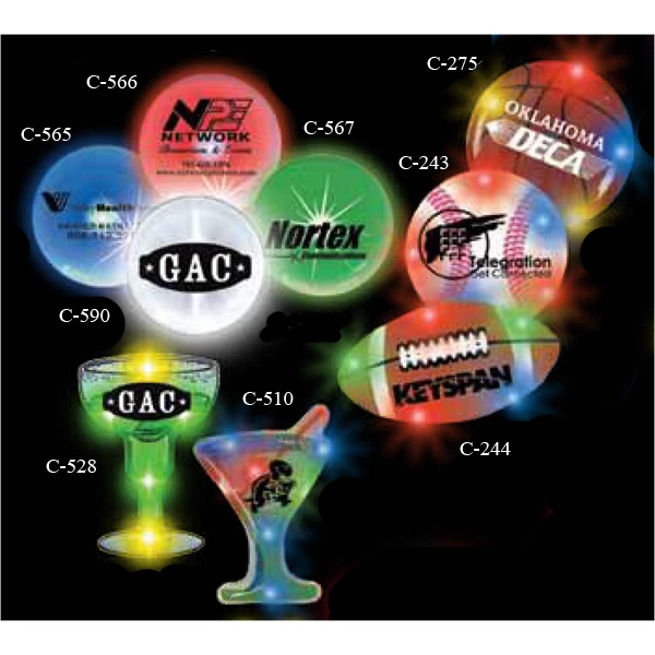 Printed Martini Glass Stock Shape Flashing LED Light Up Glow Button