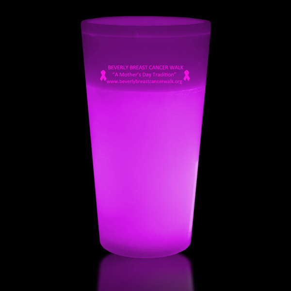 Promotional Pink 12 oz. Light Up Glow Cup