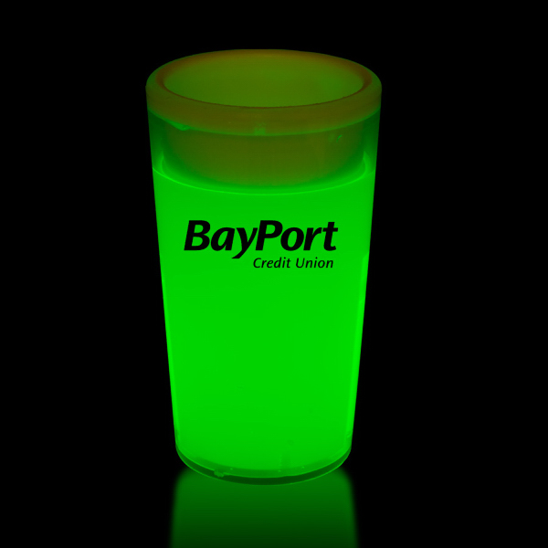 Promotional Green 2 oz. Tapered Style Light Up Glow Shot Glass