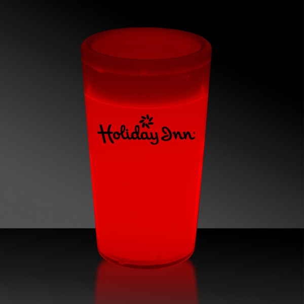 Imprinted Red 2 oz. Tapered Style Light Up Glow Shot Glass