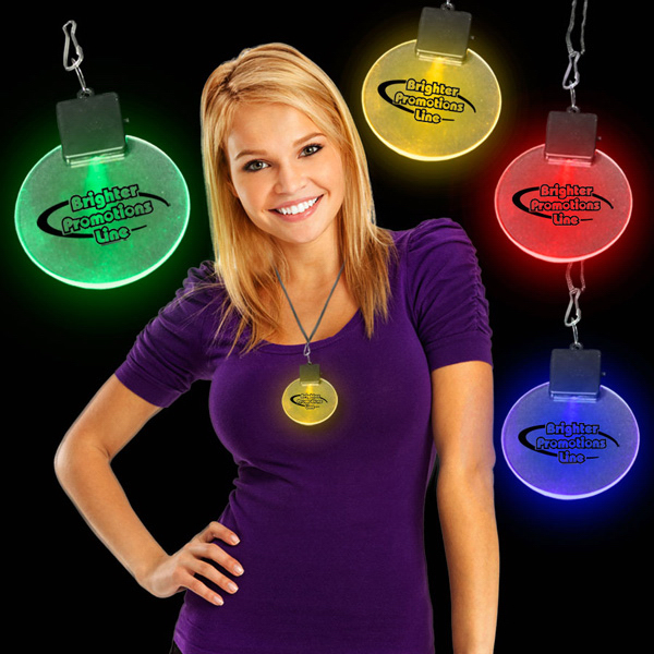 "Promotional Amber 2 1/2"" Light-Up LED Glow Medallion"