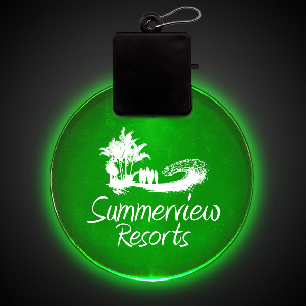 "Imprinted Jade Green 2 1/2"" Light-Up LED Glow Medallion"