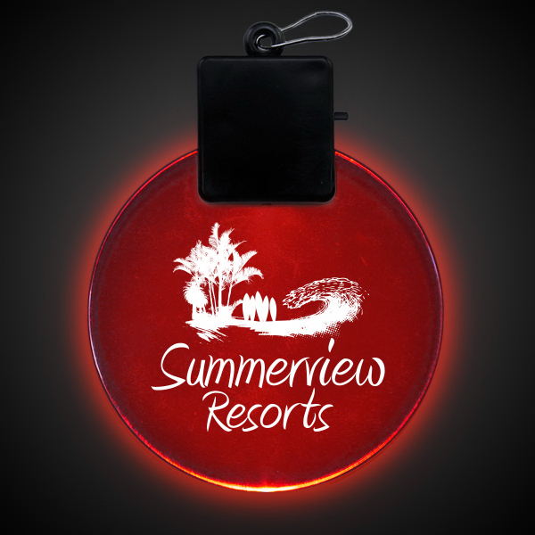 "Printed Red 2 1/2"" Light-Up LED Glow Medallion"