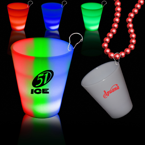 Custom Rainbow 2oz Neon Look LED LightUp Glow Shot Glass w/ J Hook