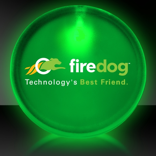 "Personalized Green 2"" Lighted Glow LED Button Pin Badge"