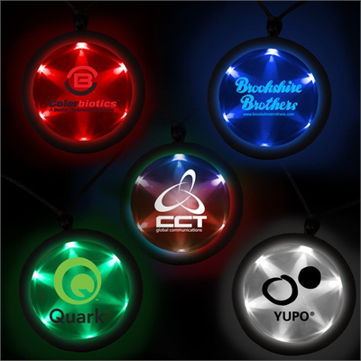 "Customized 2 1/4"" Fusion Light Up LED Badge with Necklace"