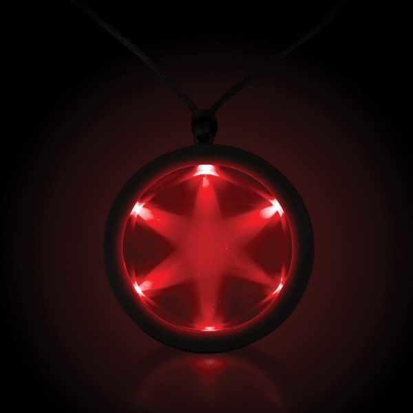 "Personalized Red 2 1/4"" Fusion LED Glow Light Up Badge with Necklace"