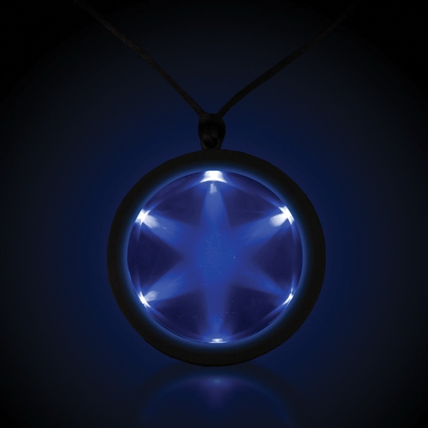 "Imprinted Blue 2 1/4"" Fusion Light Up LED Glow Badge with Necklace"