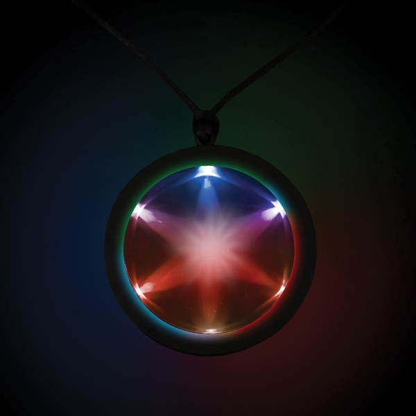 "Custom Tri Color 2 1/4"" Fusion Light Up Glow LED Badge with Necklac"