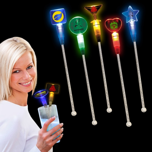 "Custom 9"" Light Up LED Glow Cocktail Stirrer"