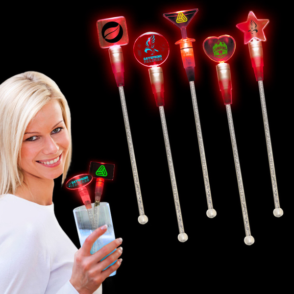 "Imprinted Red 9"" Light Up Cocktail Stirrer"