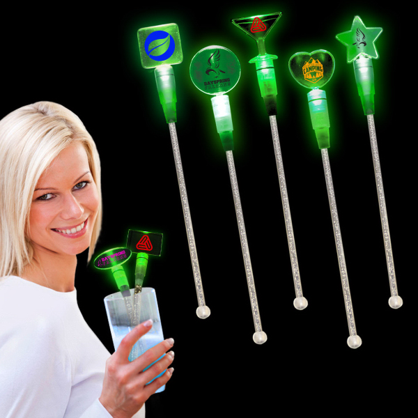 "Printed Green 9"" Light Up Cocktail Stirrer"