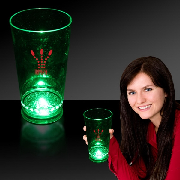 Promotional Green 16 oz. Light Up LED Pint Glass