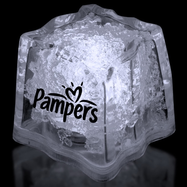 """Personalized White 1 3/8"""" Premium Light-Up Glow Cube"""