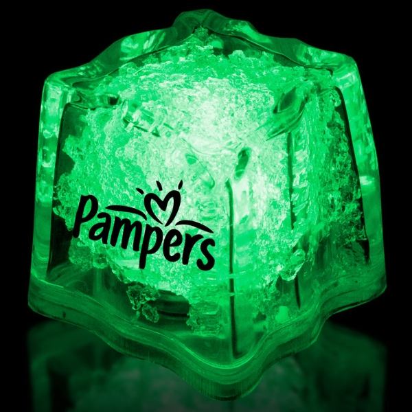 "Imprinted Green 1 3/8"" Premium Light-Up Glow Cube"