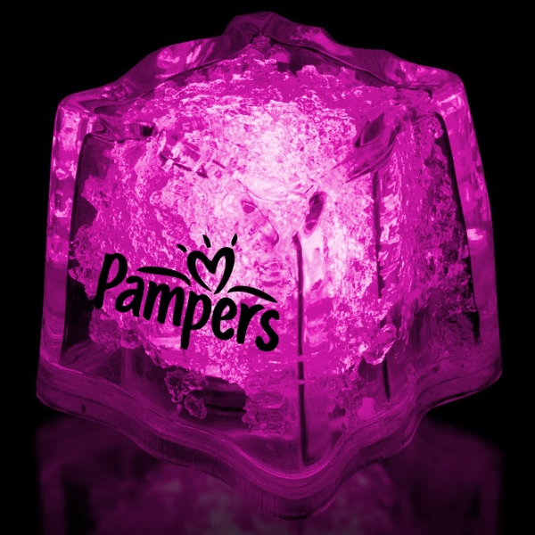 "Imprinted Pink 1 3/8"" Premium Light-Up Glow Cube"