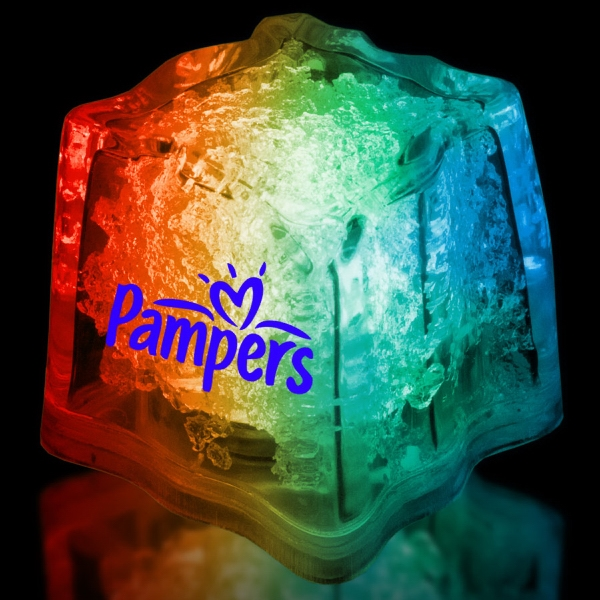 "Imprinted Rainbow 1 3/8"" Premium Light-Up Glow Cube"
