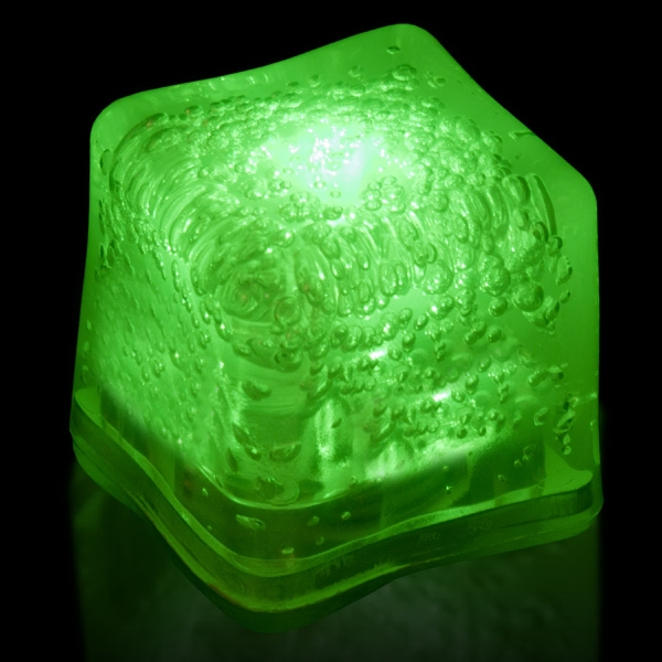 Customized Green Light Up Premium LitedIce Brand Ice Cube, Blank