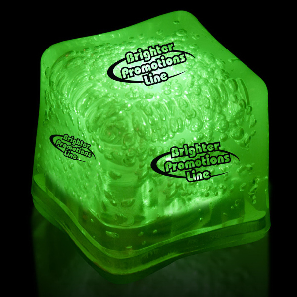 Custom Green Light Up Premium LitedIce Brand Ice Cube