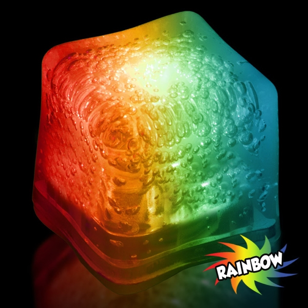 Promotional Rainbow Light Up Premium LitedIce Brand Ice Cube, Blank