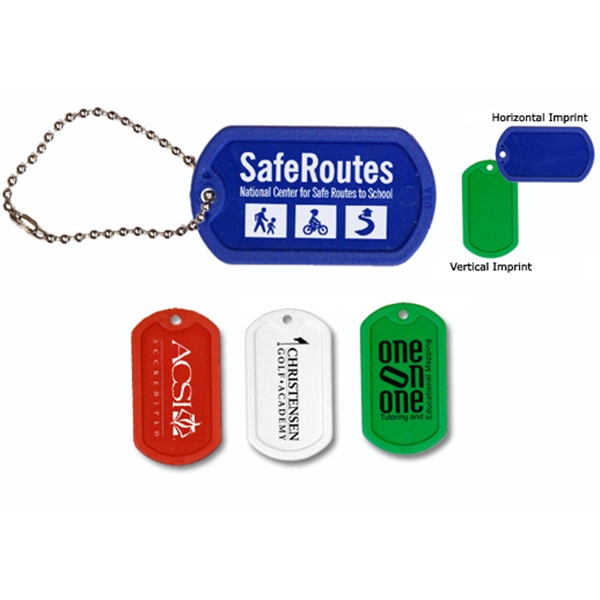 "Customized Plastic Dog Tag with 4 1/2"" Ball Chain"