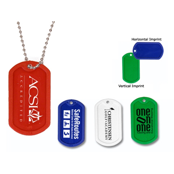 "Promotional Plastic Dog Tag with 23 1/2"" Ball Chain"
