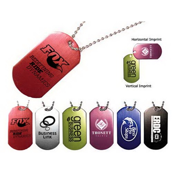 "Imprinted Dog Tag with 23 1/2"" Ball Chain"