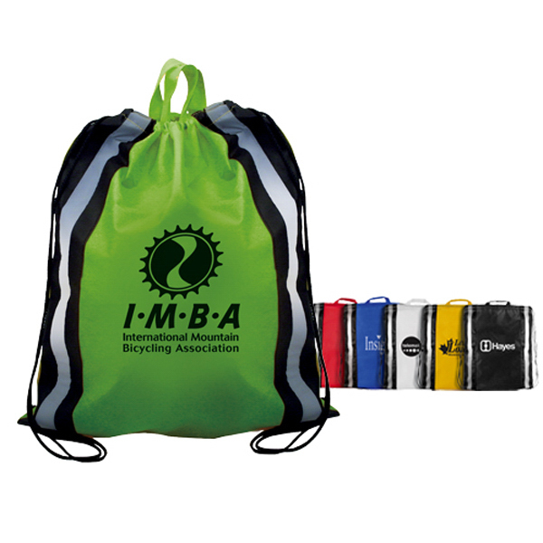 Imprinted Non-Woven Reflective Drawstring Backpack