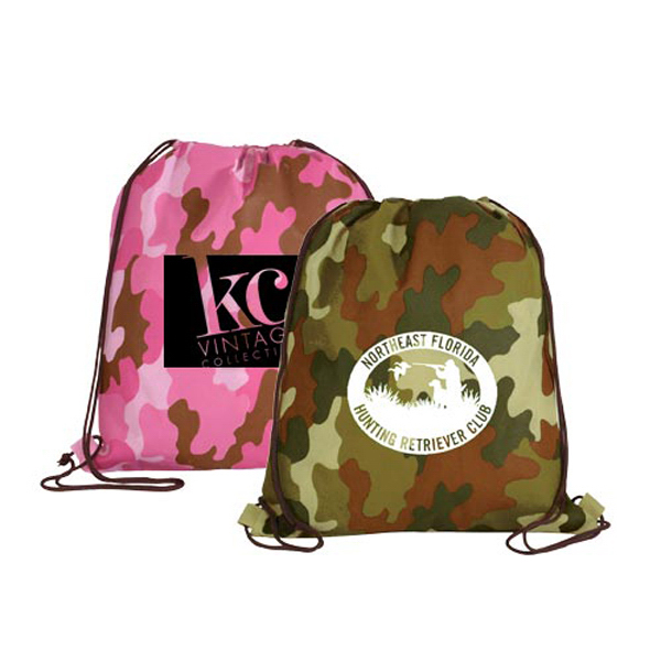 Personalized Non-Woven Camo Drawstring Backpack