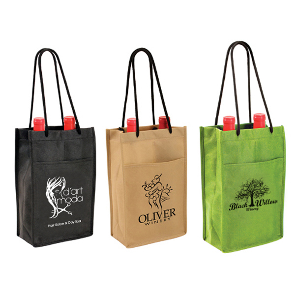 Imprinted Non-Woven Double Wine Bottle Bag